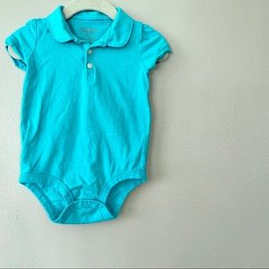 12-18m OshKosh Teal Polo With Poof Sleeves